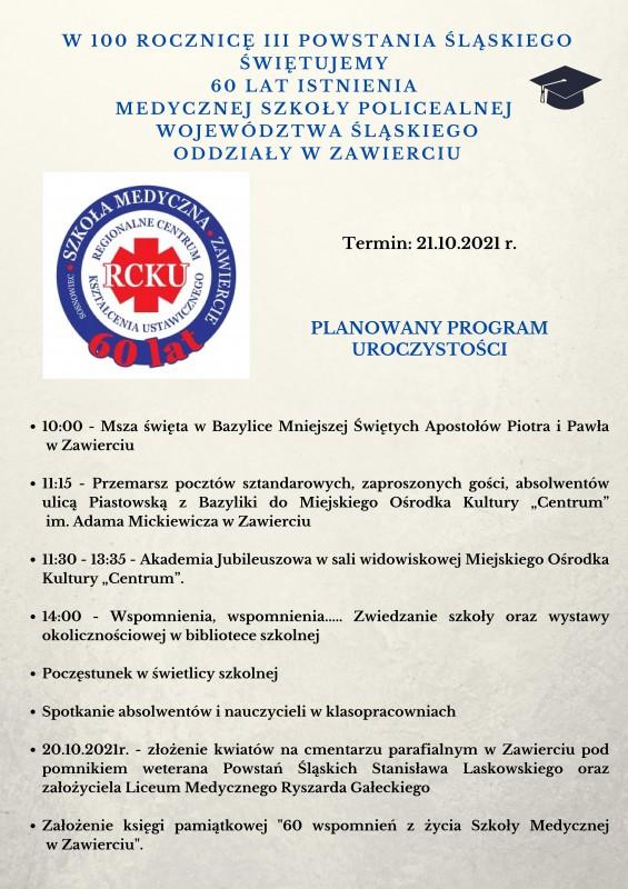 plakat z programem obchodów jubileuszu Szkoły Medycznej w Zawierciu
